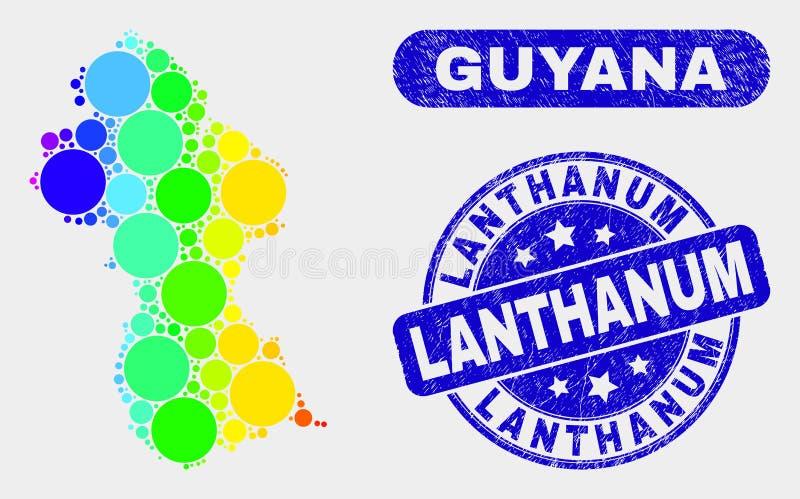 Farbige Mosaik-Guyana-Karte und Bedrängnis-Lanthan-Stempel lizenzfreie abbildung
