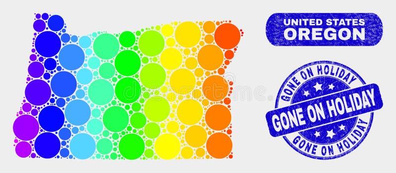 Farbige Mosaik-Staat Oregons-Karte und Bedrängnis gegangen auf Feiertags-Stempelsiegel stock abbildung