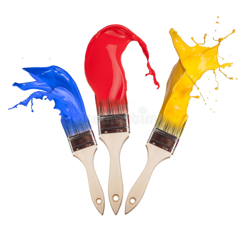 Farbige Pinsel stockbild. Bild von tropfen, einzeln, pinsel - 27690629