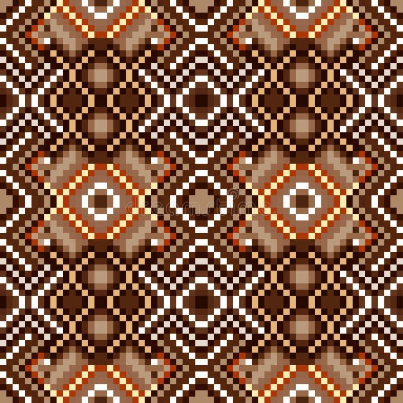 Farbige Pixel im nahtlosen Muster der Stammes- Weinlese des Retrostils lizenzfreie abbildung