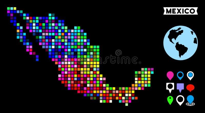 Farbige Pixel-Mexiko-Karte stock abbildung