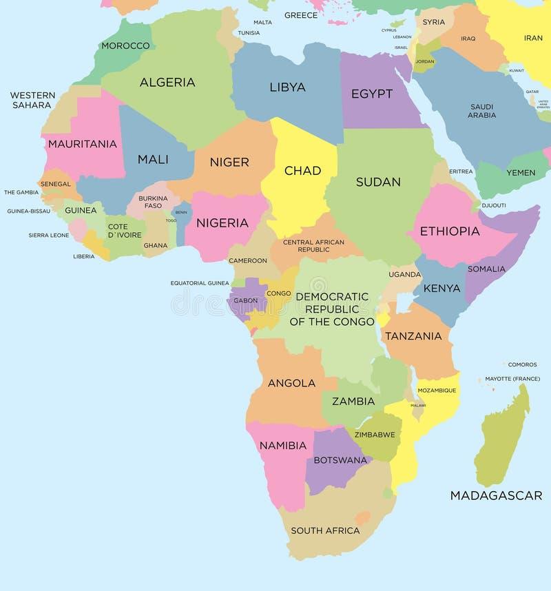 Farbige politische Karte von Afrika lizenzfreie abbildung