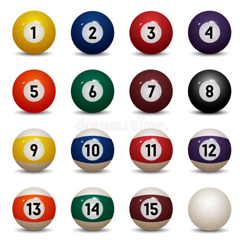 farbige Poolbälle Zahlen 1 bis 15 und nullball lizenzfreie abbildung
