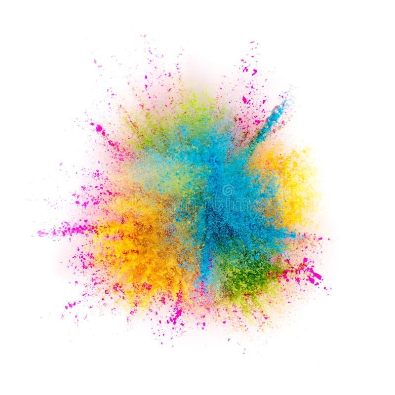 Farbige Pulverexplosion lokalisiert auf weißem Hintergrund lizenzfreies stockfoto