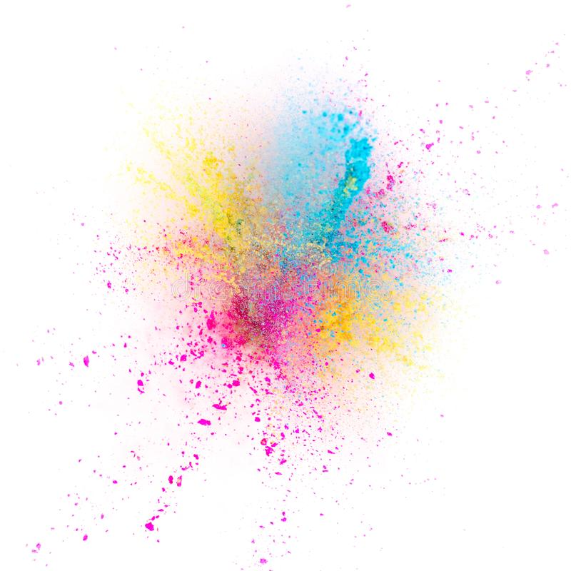 Farbige Pulverexplosion lokalisiert auf weißem Hintergrund lizenzfreie stockfotos