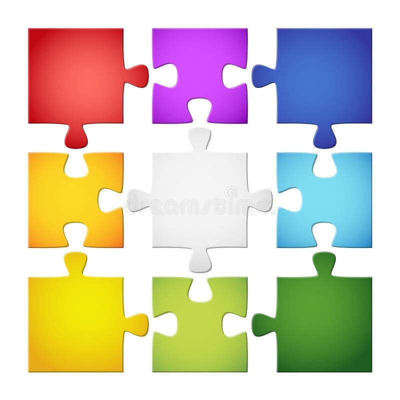 9 farbige Puzzlespielstücke stock abbildung