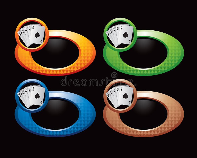 Farbige Ringe mit Spielkarten stock abbildung
