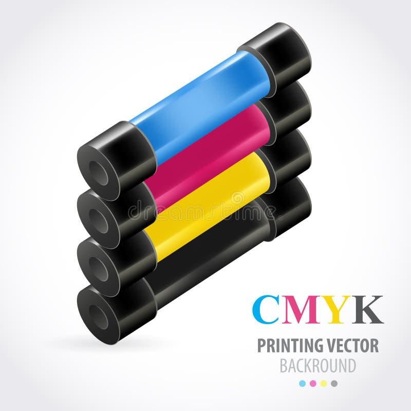 Farbige Rolle Cmyk Druck vektor abbildung