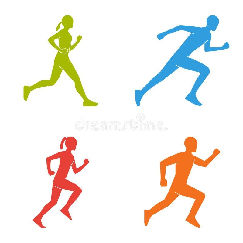 Farbige Schattenbilder von Läufern Flache Zahlen Marathoner stock abbildung