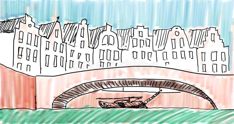 Farbige Skizze von älterem Amsterdam stock abbildung