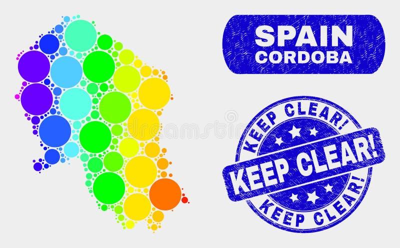 Farbige spanische Provinz-Karte und Schmutz Mosaik-Cordobas hält klar! Stempel vektor abbildung