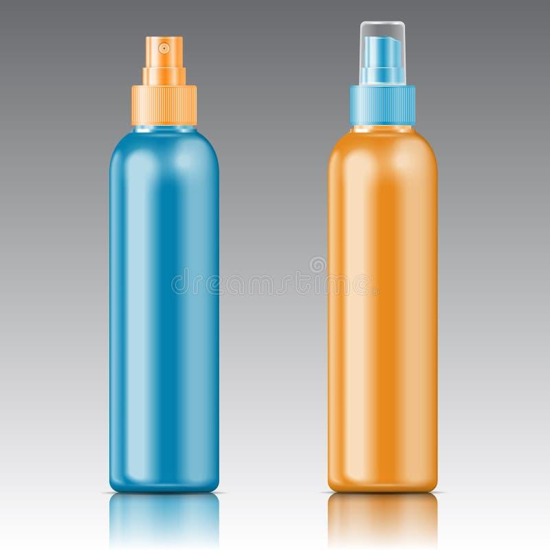 Farbige Sprüherflaschenschablone. vektor abbildung