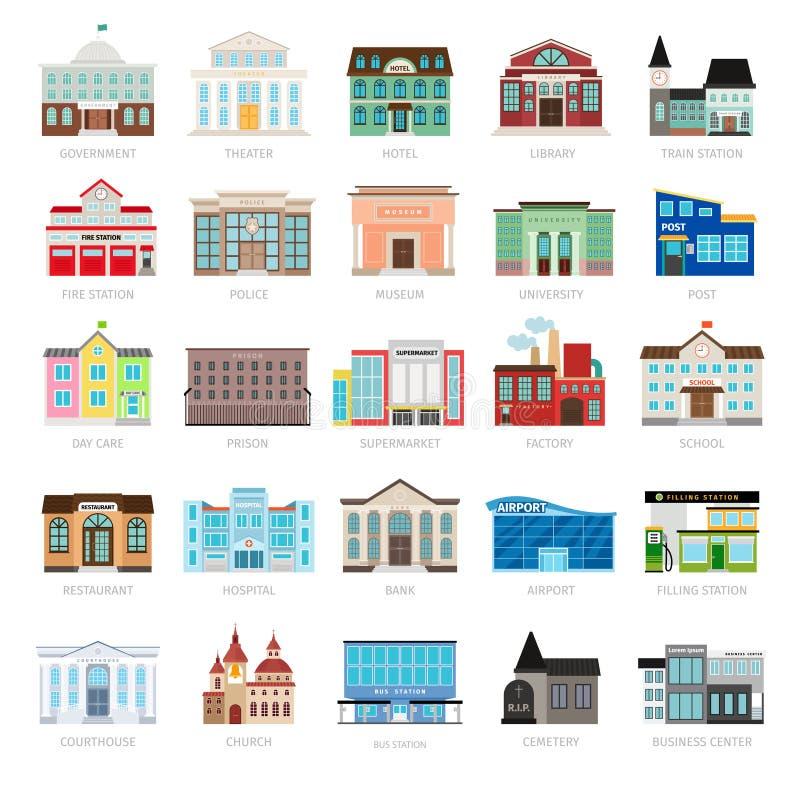 Farbige städtische Regierungsgebäudeikonen vektor abbildung