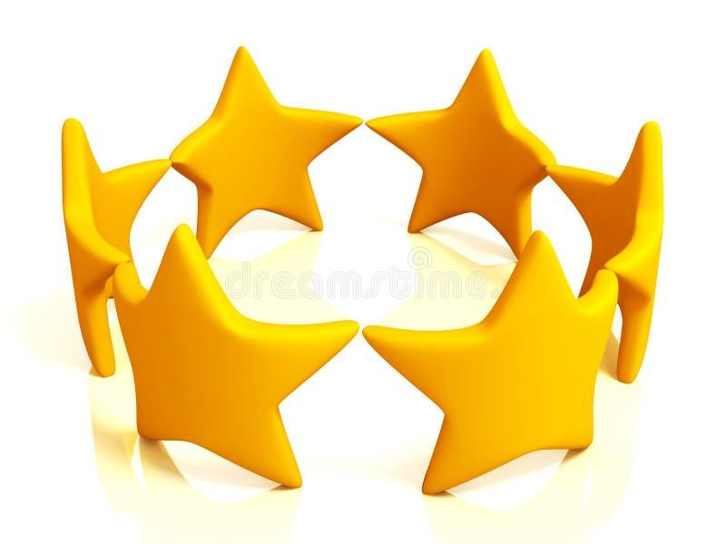 Farbige Sterne getrennt auf Weiß lizenzfreie abbildung