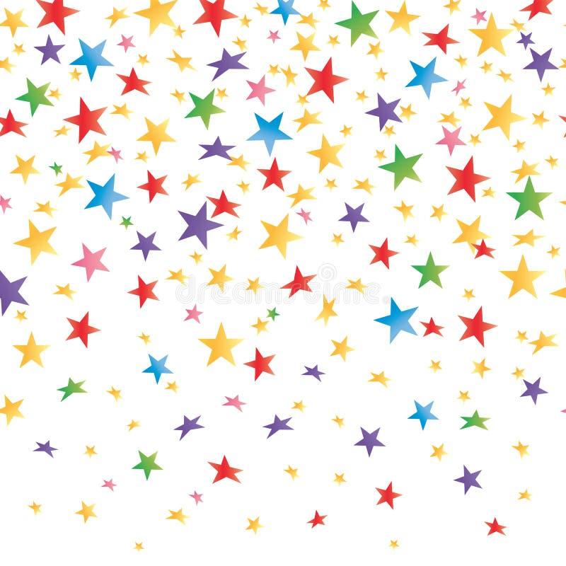 Farbige Sterne mit einer Steigung, transparenter nahtloser Hintergrund Vektor lizenzfreie abbildung