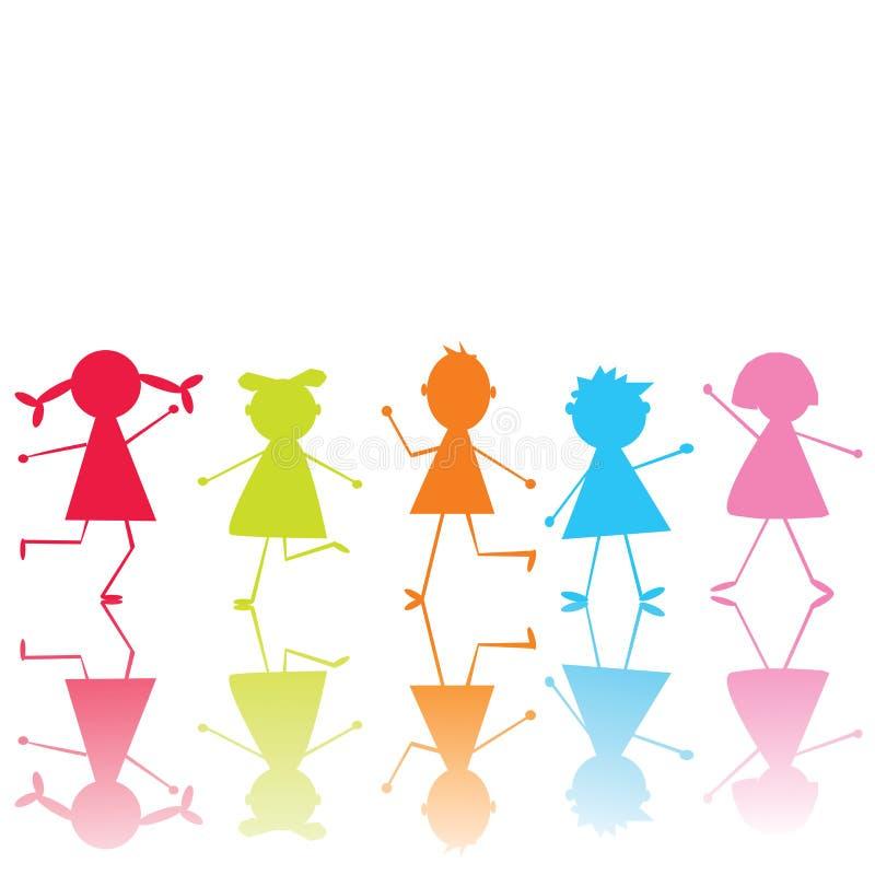 Farbige stilisiert Kinder stock abbildung. Illustration von blau ...