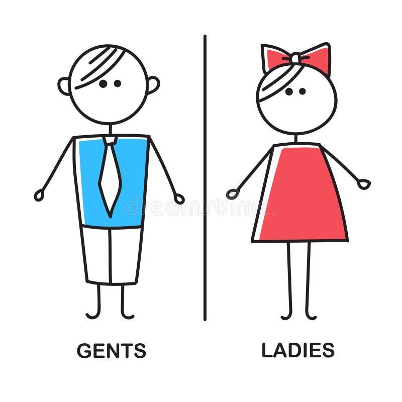 Farbige Toilette Ikone Einfaches Zeichen von WC Männer und Frauen WC-Zeichen für Toilette Vektorskizze auf weißem Hintergrund stock abbildung