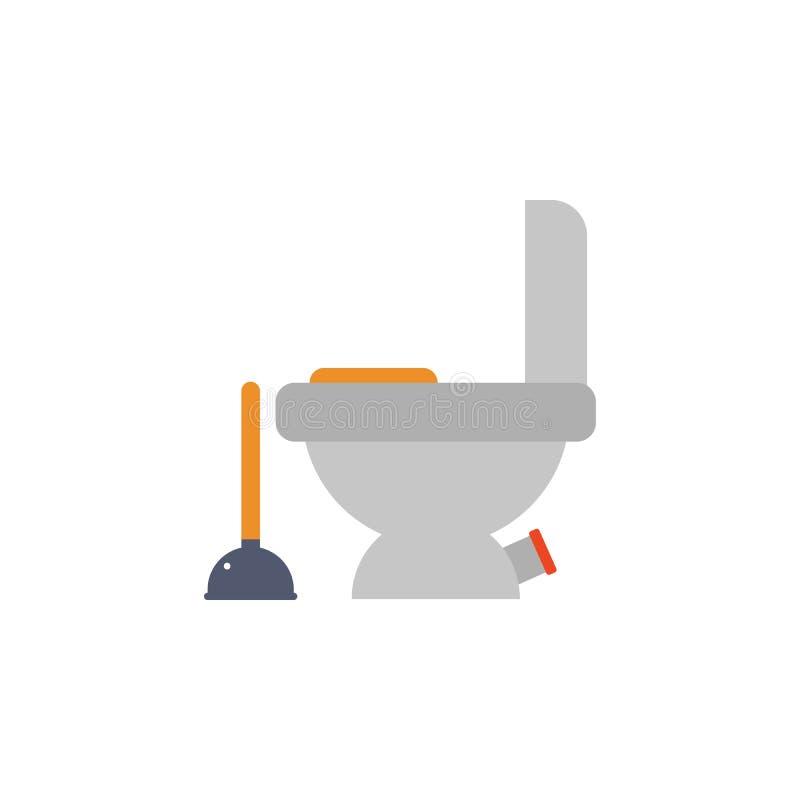 farbige Toilettenschüssel- und -kolbenillustration Element von Bauwerkzeugen für bewegliche Konzept und Netz apps Ausführliche To vektor abbildung