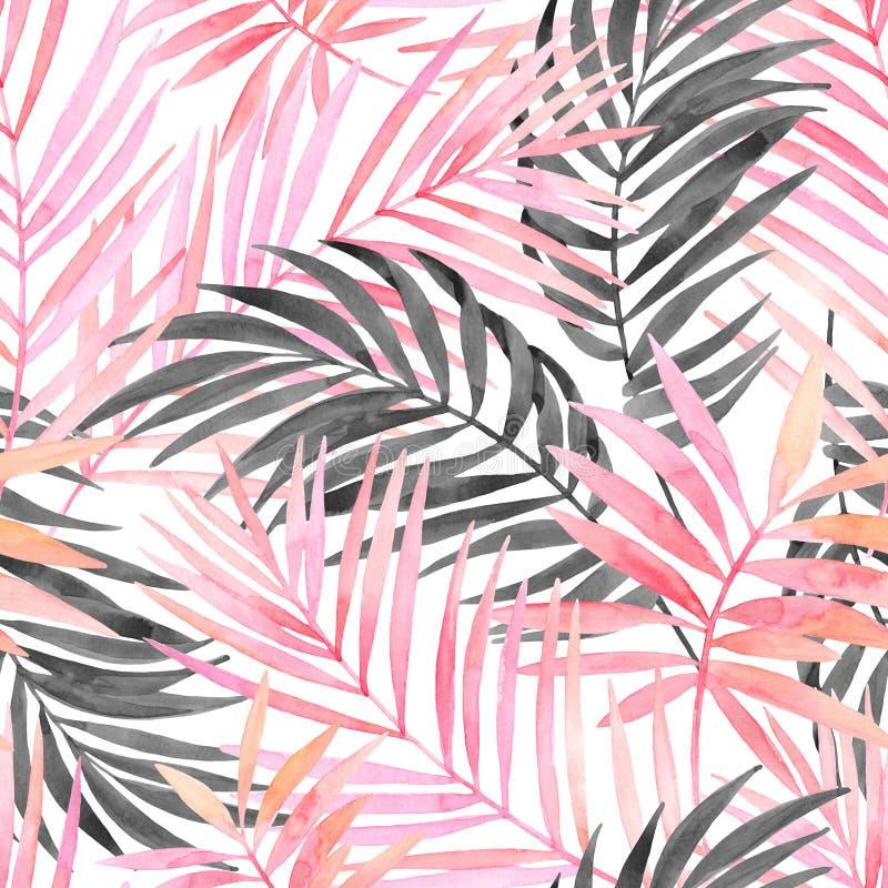 Farbige und grafische Palmblattmalerei des Watercolourrosas lizenzfreie abbildung