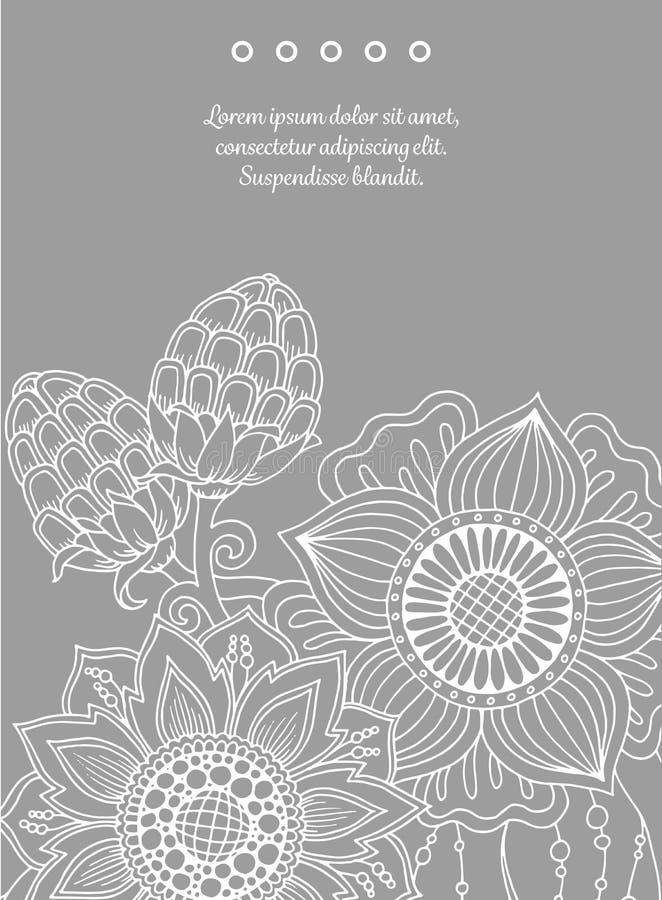 Farbige Und Schwarzweiss-Blendenblume Hand Gezeichnete Grafik Mit ...