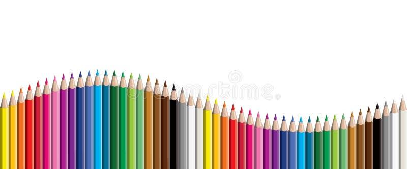 Farbige Vektor-Illustration craynos der Bleistiftsammlung Welle vereinbarte - nahtlos in beiden Richtungen - lokalisierte auf wei lizenzfreie abbildung