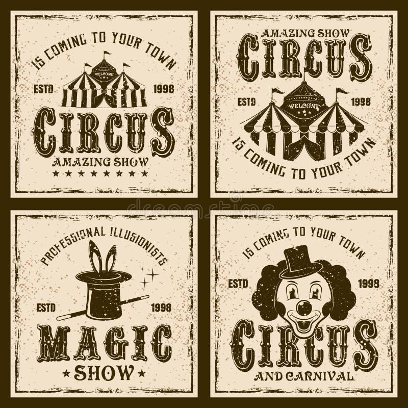 Farbige Weinleseembleme der Zirkusshow vier vektor abbildung