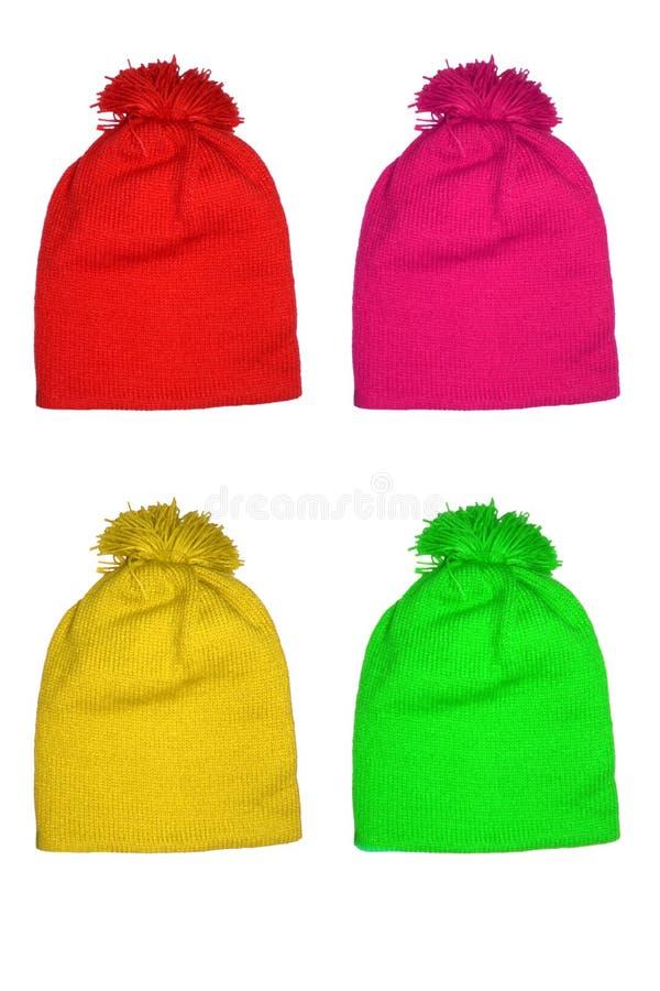 Farbige Wolle-Hüte für Kinder stockfotografie
