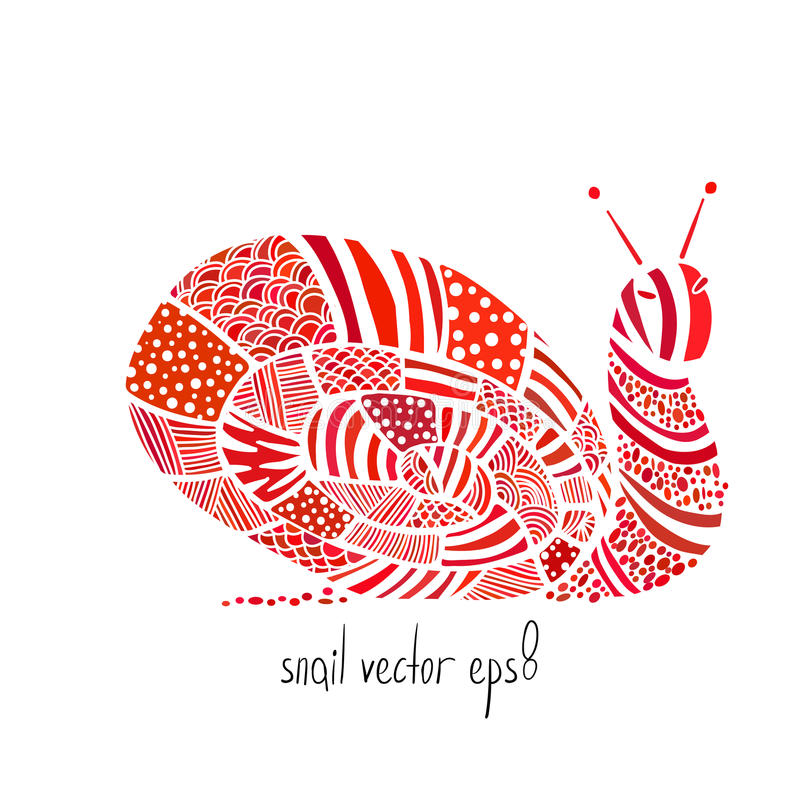 Farbige zentangle Schnecke auf weißem Hintergrund lizenzfreies stockbild