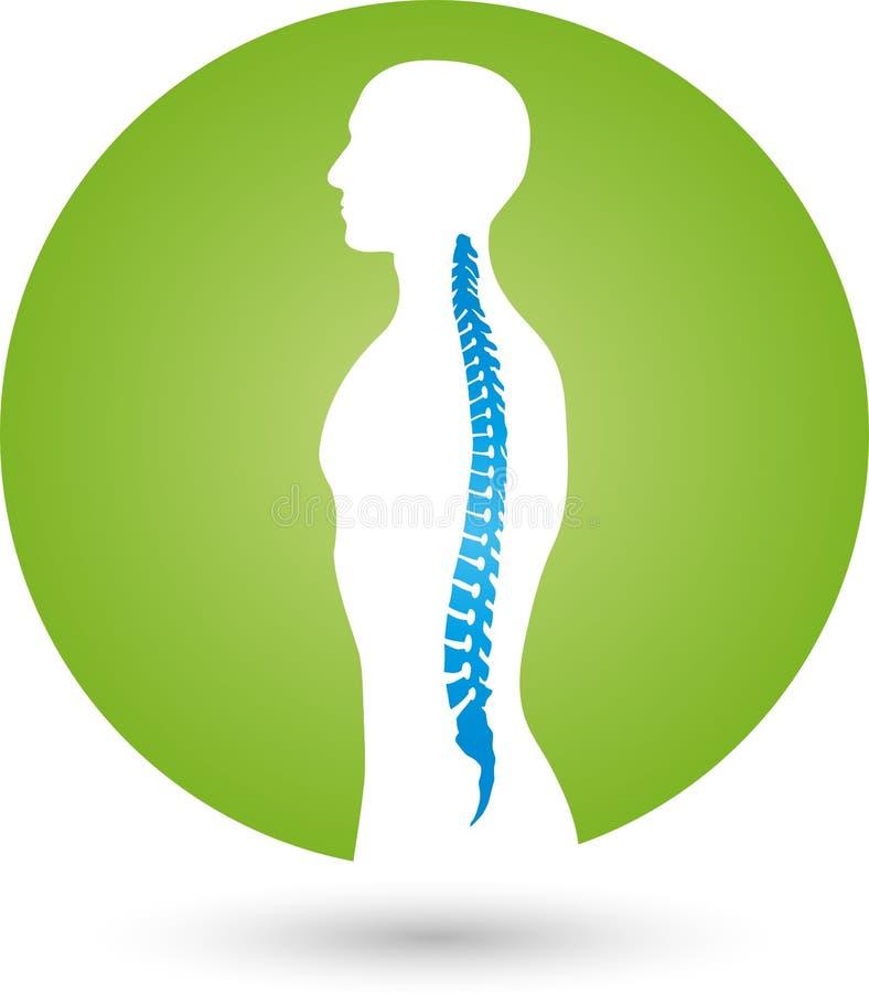 Farbigen, orthopädischen und der Physiotherapie Logo der Person und des Dorns, lizenzfreie abbildung