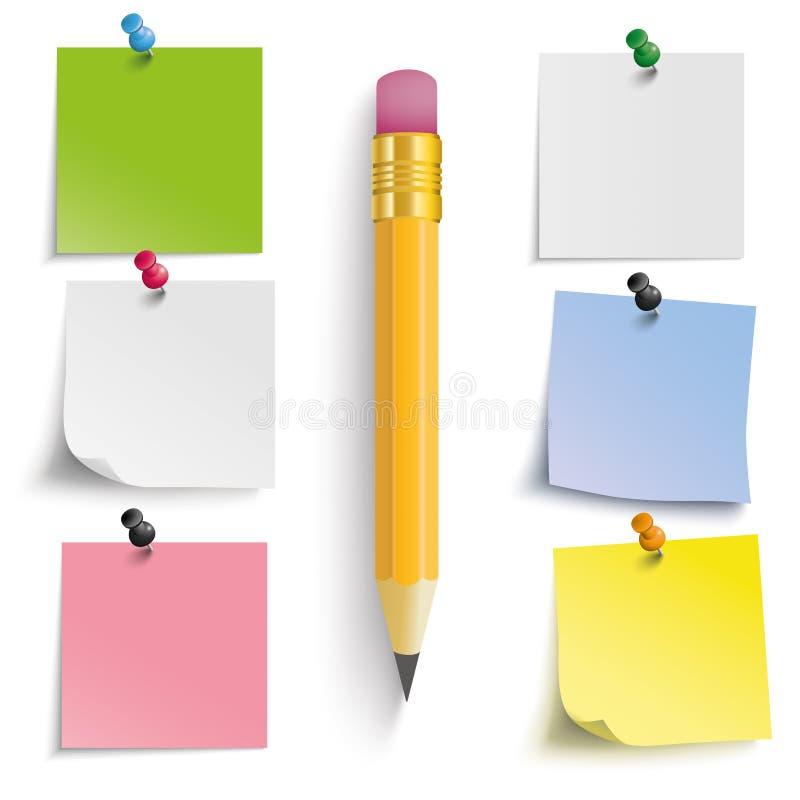 Farbiger Aufkleber-Bleistift lizenzfreie abbildung