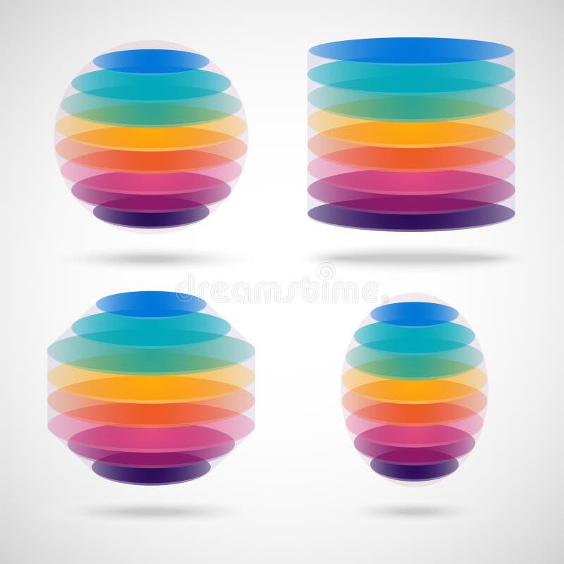 Farbiger Bereich, Zylinder, Polygon und Ellipse stock abbildung