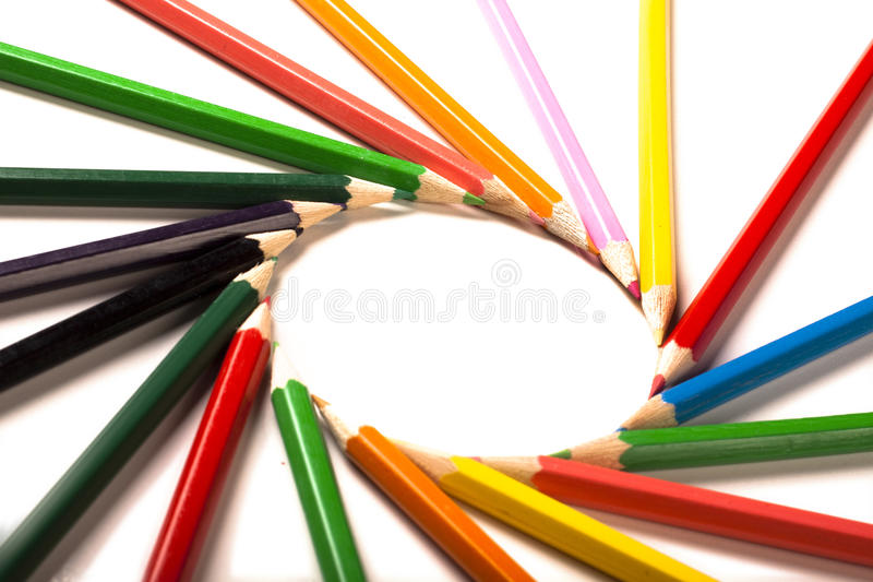 Farbiger Bleistift-Kreis lizenzfreies stockfoto