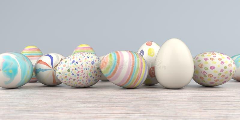 Farbiger Easter Egg-Holztisch vektor abbildung