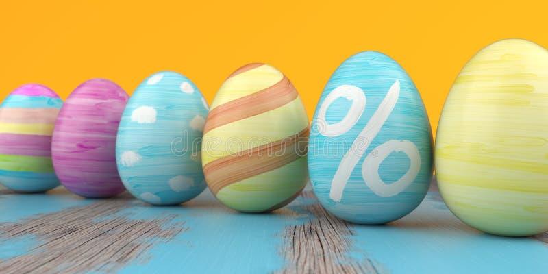Farbiger Easter Egg-Prozent-Holztisch vektor abbildung
