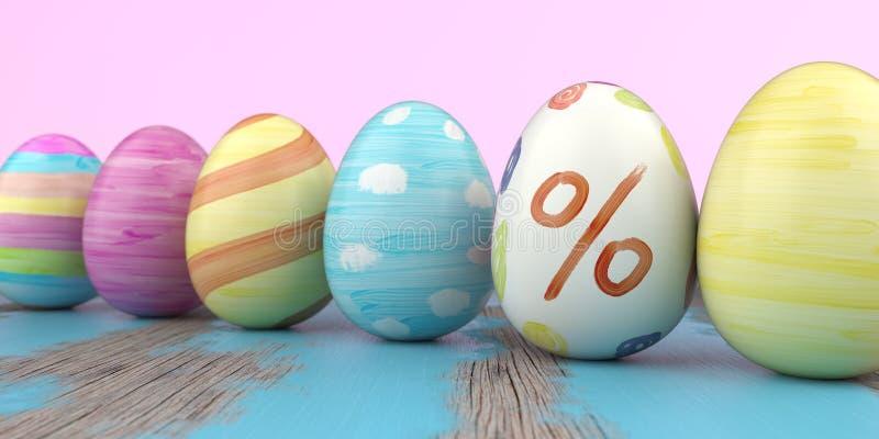 Farbiger Easter Egg-Prozent-Holztisch lizenzfreie abbildung
