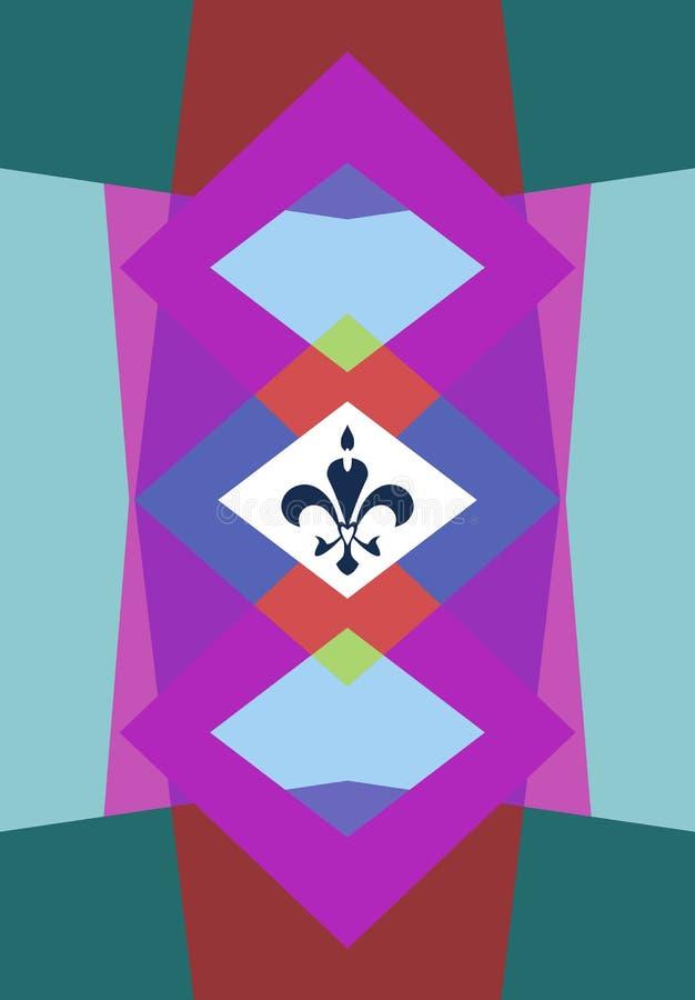 Farbiger Formhintergrund mit Verzierung Fleur de Lis vektor abbildung