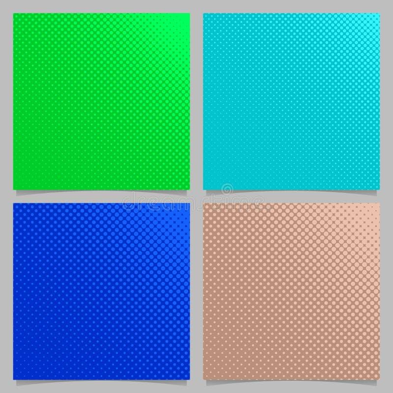 Farbiger geometrischer abstrakter Halbtonpunktmusterhintergrund eingestellt - quadratisches Broschürendesign von den Kreisen vektor abbildung