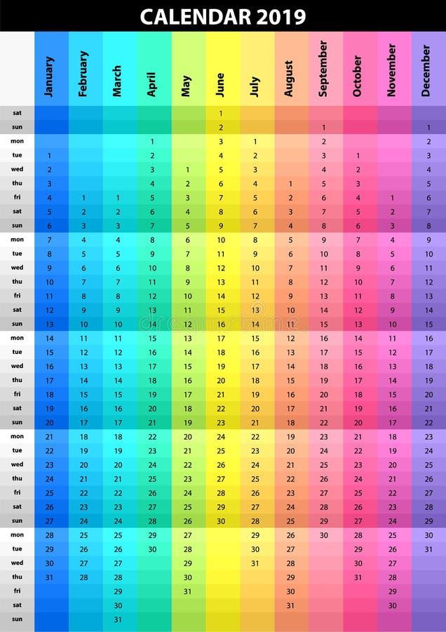 Farbiger gestreifter Kalender für das 2019-jährige Spektralfarben Bunter Vektorsatz Schablone für Ihre Auslegung stock abbildung