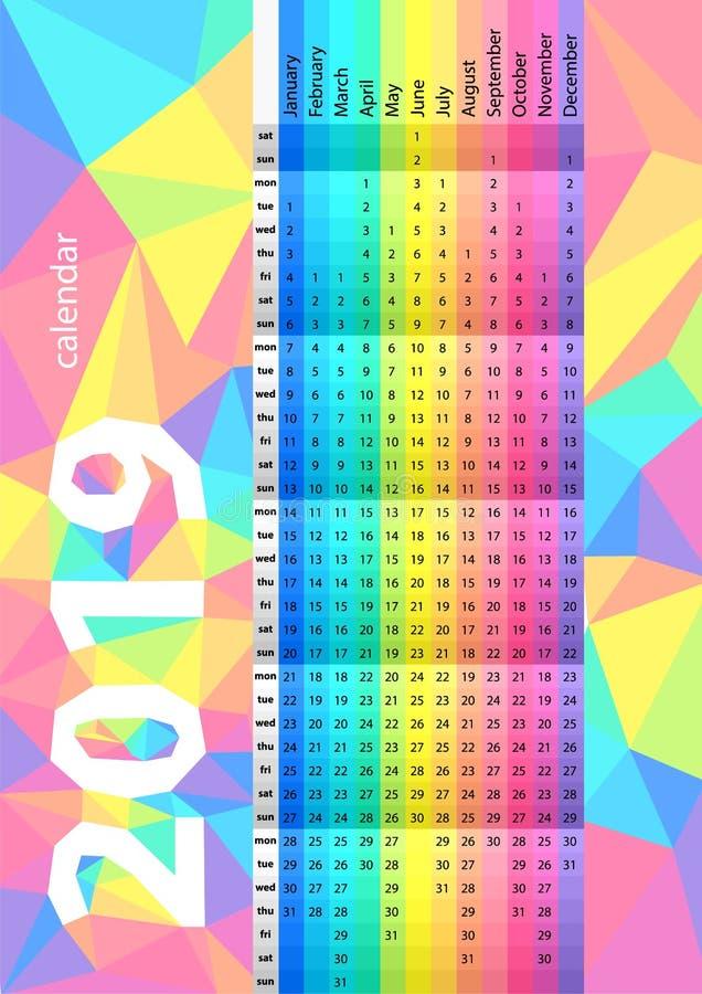 Farbiger gestreifter Kalender für das 2019-jährige Spektralfarben Bunter Vektorsatz Schablone für Ihre Auslegung lizenzfreie abbildung
