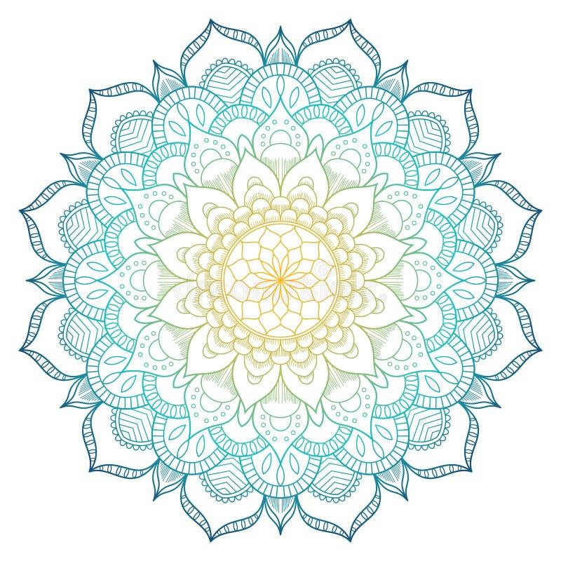 Farbiger Hintergrund der Mandala Muster Auch im corel abgehobenen Betrag Meditationselement für Indien-Yoga Verzierung für Verzie lizenzfreie abbildung