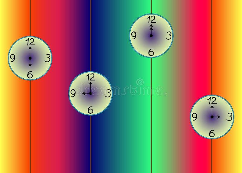 Farbiger Hintergrund mit einer Uhr stockfotografie
