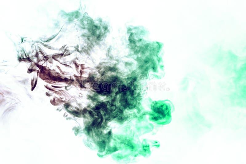 Farbiger Hintergrund mit Wicklungsrauchwolken von den Mustern von verschiedenen Formen von roten, grünen Farben mit den Zungen de stockfotografie