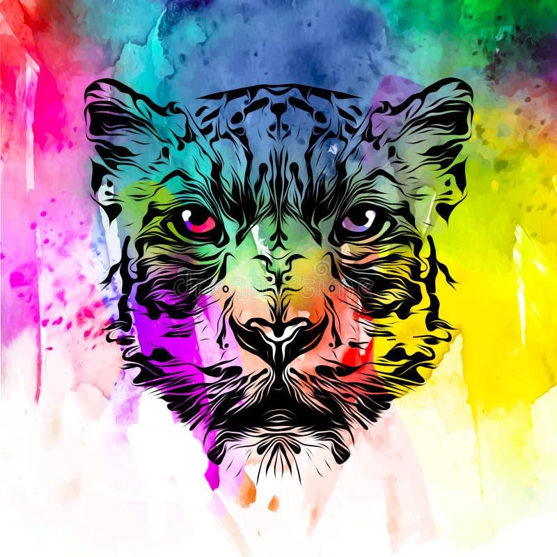 Farbiger künstlerischer Tiger auf weißem Hintergrund lizenzfreies stockfoto