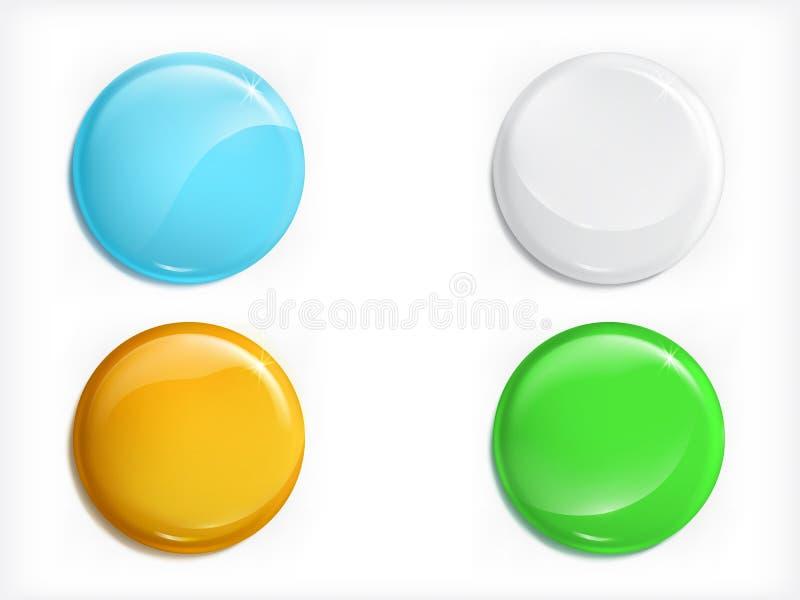 Farbiger realistischer Vektorsatz der glatten Rundenknöpfe lizenzfreie abbildung