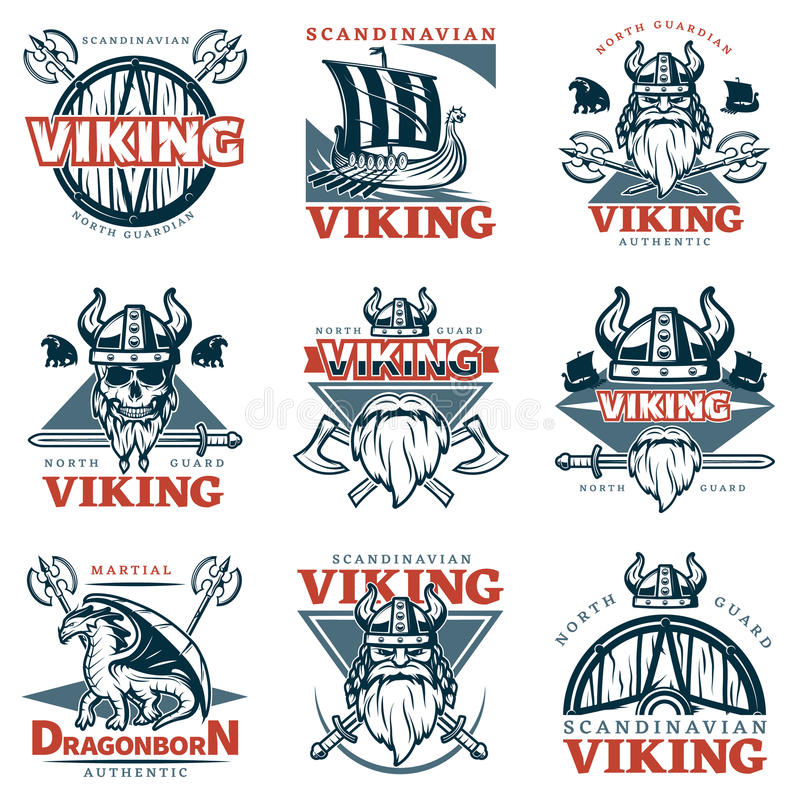 Farbiger Viking Emblem Set stock abbildung