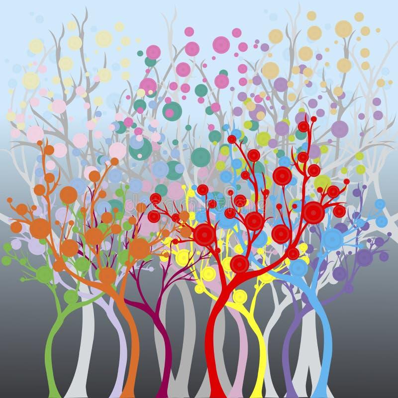 Farbiger Wald lizenzfreie abbildung