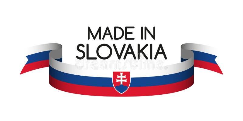 Farbiges Band mit der slowakischen Trikolore, hergestellt in Slowakei vektor abbildung