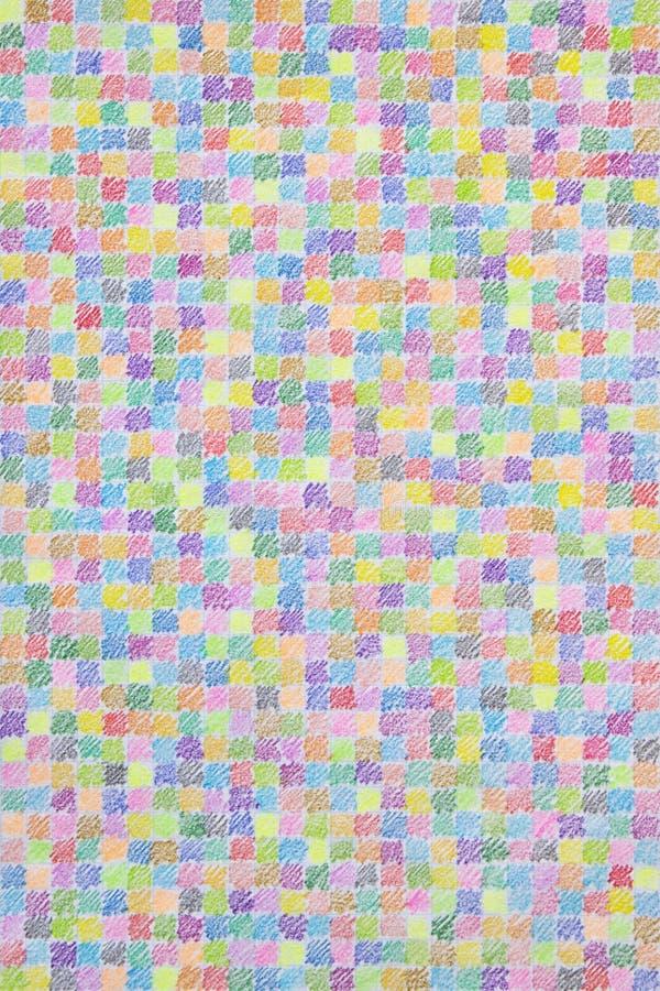 Farbiges Bleistift-Gekritzel-Muster auf Karopapier stock abbildung