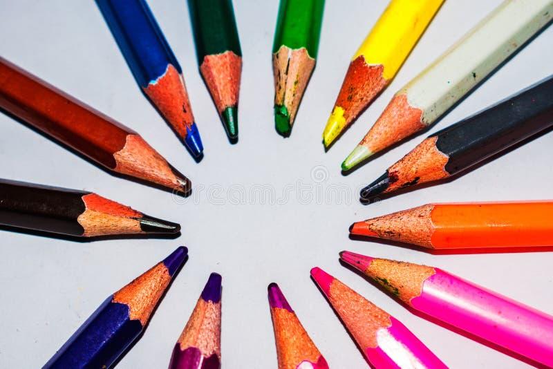 Farbiges Bleistifte Makro Schuss-abstrakt lizenzfreie stockfotografie