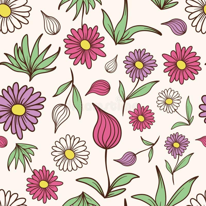 Farbiges Blumen-und Blatt-Muster stockfotografie